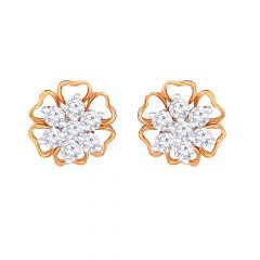 Glittering Floral Rose Gold Diamond Earring