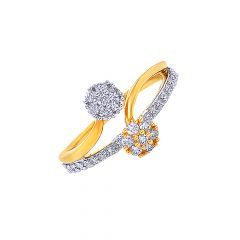 Trendy Interlink Cluster Gold Diamond Ring- DR_2756