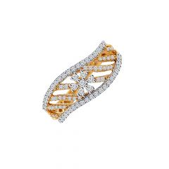 Glittering Curvet With Floral Diamond Gold Ring-DR_3178