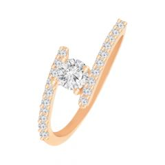 Classic Solitaire Single Diamond Gold Ring- DR_3341