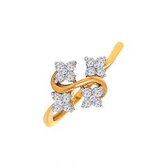 Glittering  Diamond Gold Ring-DR_3677