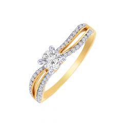 Sparkling Classy Solitaire Diamond Gold Ring-DR_3694