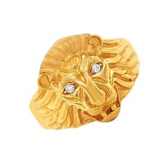 Lion Face Gold Ring For Him-R_39392
