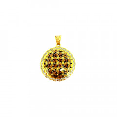 Traditional Enamel CZ Cutout Daily Wear Yellow Gold 18kt Pendant -275-12003158