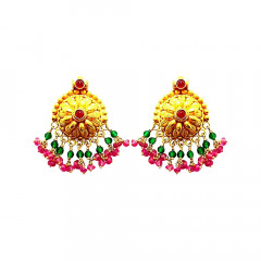 Traditional Textured Dome Synthetic Ruby Emerald Gemstone Earrings-12003177
