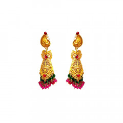 Traditional Textured Paisley Gemstone Gold Earrings -120036685