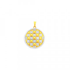 Delicate Geometric Contemporary Daily Wear CZ Yellow Gold 18kt Pendant -275-120036762