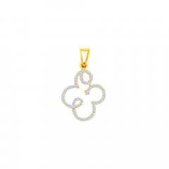 Elegant Cluster Curvy Contemporary CZ Daily Wear Yellow Gold 18kt Pendant -275-120038701