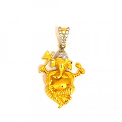 Religious Lord Ganesha Daily Wear CZ Yellow Gold 22kt Pendant -275-120039860
