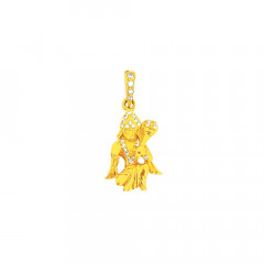 Religious Lord Hanuman Daily Wear Yellow Gold 22kt CZ Pendant -275-120051493