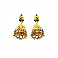Traditional Textured Peacock Gemstone Gold Jhumka -12005447