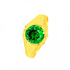 Traditional Synthetic Emerald Daily Wear Yellow Gold 22kt Ring For Him -275-120062433