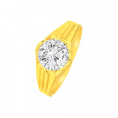Elegant Single Stone CZ Contemporary Daily Wear Yellow Gold 22kt Ring -275-120064514