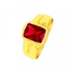 Traditional Synthetic Colour Stone Daily Wear Yellow Gold 22kt Ring For Him -275-120081283