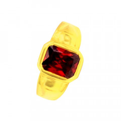 Traditional Textured Daily Wear Yellow Gold 22kt Gemstone Ring For Him -275-120083