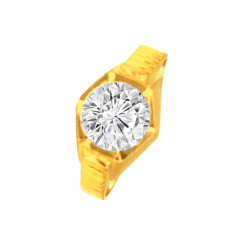 Elegant Single Stone Contemporary CZ Daily Wear Yellow Gold 22kt Ring For Him -275-120095825
