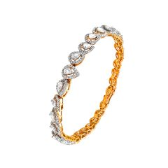 Glittering Drop Cluster Framing Openable Diamond Bracelet -14-G1427