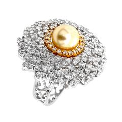 Sizzling Pear Gemstone Diamond Gold Ring-15-G642