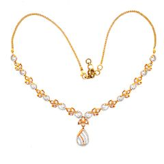 Sparkling Drop Diamond Gold Necklace