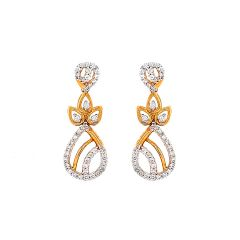 Sparkling Drop Diamond Gold Earring