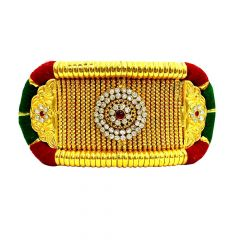 Traditional Textured Peacock Bajubandh Gemstone Gold Armlet-283-5437