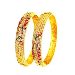 Traditional Enamel Gheru Wedding Yellow Gold 22kt Bangles -283-6642