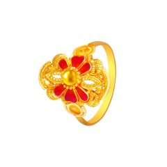 Ceremonial Textured Enamel Gold Ring -7219