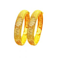 Classic Filigree Openable Wedding Yellow Gold 22kt Bangles (Set Of Two) -283-7242
