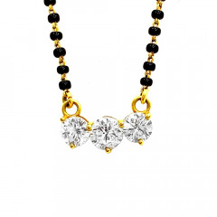 Elegant Classic Daily Wear Yellow Gold 22kt With CZ - Cubic Zirconia Mangal Sutra -283-7494