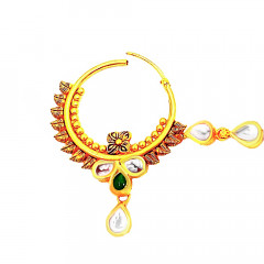 Ceremonial Wedding Yellow Gold 22kt With Kundan Nose Pin -283-7727