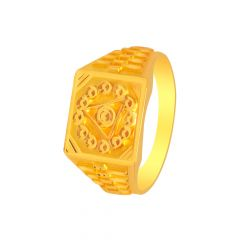 Traditional Textured Engaraved Gold Ring For Him -7777