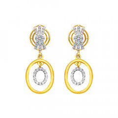 Elegant Geometrical CZ Dangler Gold Earrings -7794