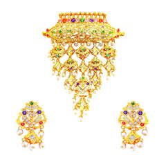 Traditional Synthetic Colour Stone Wedding Yellow Gold 22kt Necklace Set -283-8096
