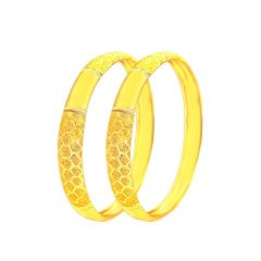 Traditional Textured Daily Wear Yellow Gold 22kt Bangle (Set Of Two) -283-8104