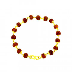 Traditional Synthetic Rudraskh Daily Wear Yellow Gold 22kt Bracelet For Men -283-8125