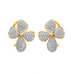 Sparkling Cluster Floral Diamond Earrings -D1935