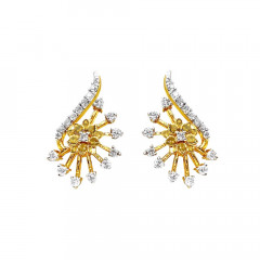 Unique Floral Diamond Gold Earrings-D2526