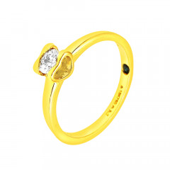 Elite Classic Single Stone Engagement Yellow Gold 18kt Ring-283-D2578
