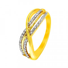 Sparkling Contemporary Casual Wear Yellow Gold 18kt Ring -283-D2726