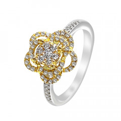 Sparkling Floral Diamond Gold Ring-D2730