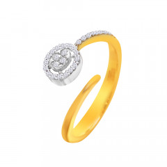 Stylish Cluster Framing Open End Diamond Ring -D2755