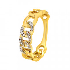 Stylish Curb Link Chain Look Diamond Ring -D2775