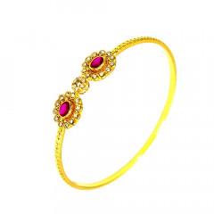 Ceremonial Textured Natural Uncut Diamond 22kt Yellow Gemstone Bangles -283-UD9
