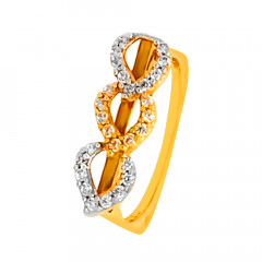 Glittering Drops Yellow Gold 22kt CZ Diamond Ring-LRIN91062