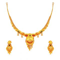 Traditional Textured  Floral Paisley Enamel Gold Necklace Set -GJ0001