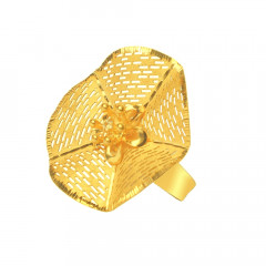Delicate Cutout Floral Office Wear Yellow Gold 22kt Ring -289-LR001