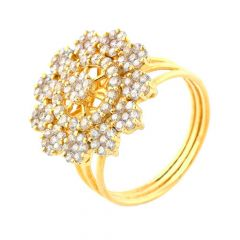Glittering Floral Cluster CZ 22kt Yellow Gold Ring -30-R68632