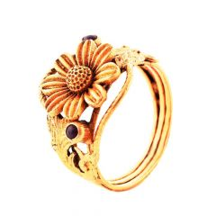 Antique Blooming Floral Textured Synthetic Ruby 22kt Yellow Gold Ring -30-R74644