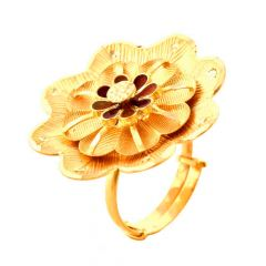 Blooming Enamel Textured Floral Adjustable 22kt Yellow Gold Ring -30-R86514