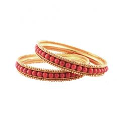 Traditional Natural Italian Coral Gold Bangle Set Of Two -6-B8769